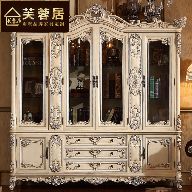Get Quotations Hibiscus Ranking French Luxury Large Bookcase Wood Carved White European Style Villa Custom Lockers