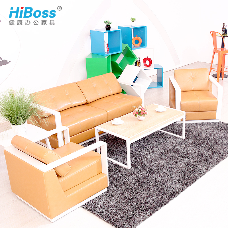 [Hiboss] modern minimalist office sofa leather sofa business reception parlor sofa office sofa