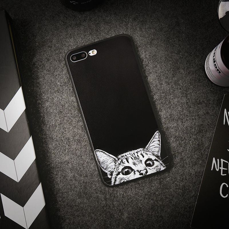 Hidog iPhone7 plus phone shell mobile phone shell apple apple creative personality seven soft silicone protective sleeve tide cartoon