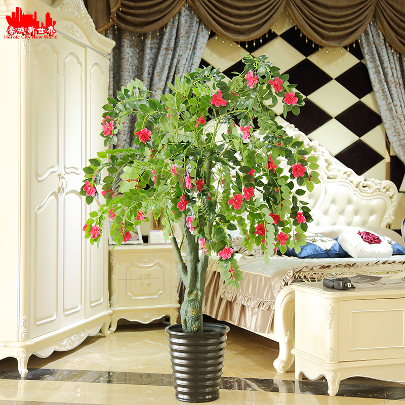 High imitation money tree money tree potted plants simulation simulation peach cherry tree fell to the living room wedding flower decoration