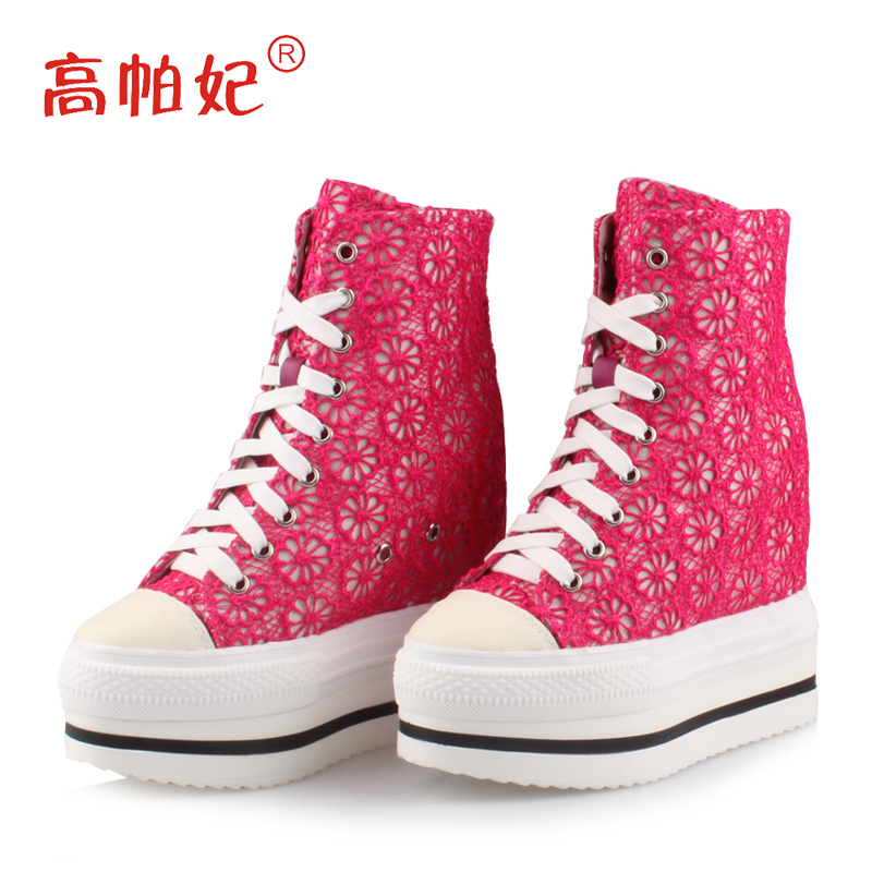 High puffy amiyumi authentic korean version of the lace lace solid color high tide shoes increased within the women's singles shoes thick crust waterproof
