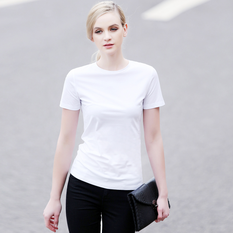 High quality pure white small micro qi si korean version of the spring and summer loose cotton round neck short sleeve t-shirt female minimalist black