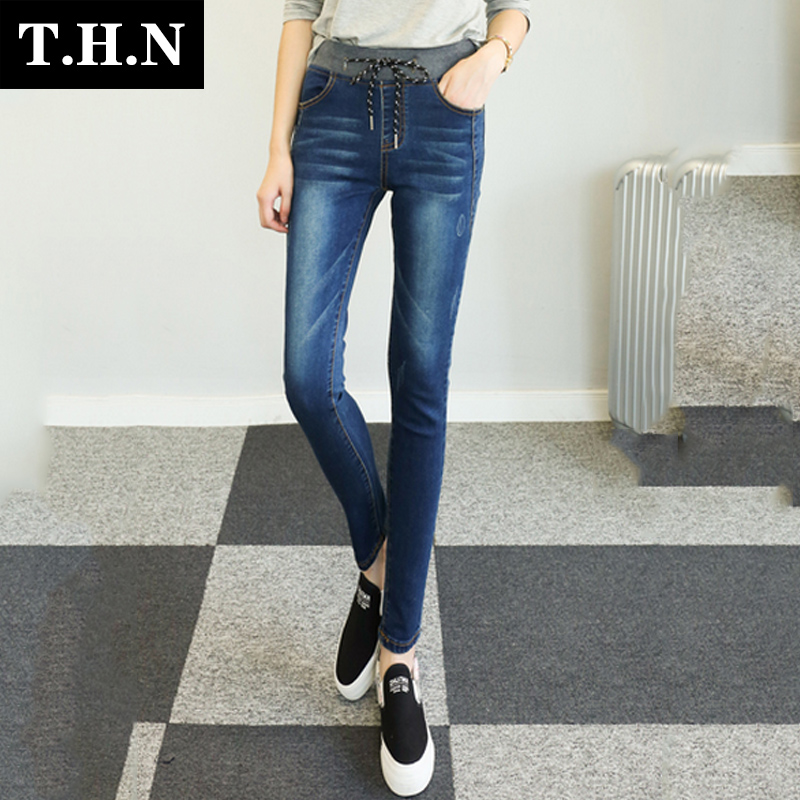 High school students college wind was thin elastic drawstring elastic waist denim trousers girls hundred ride slim feet pencil pants
