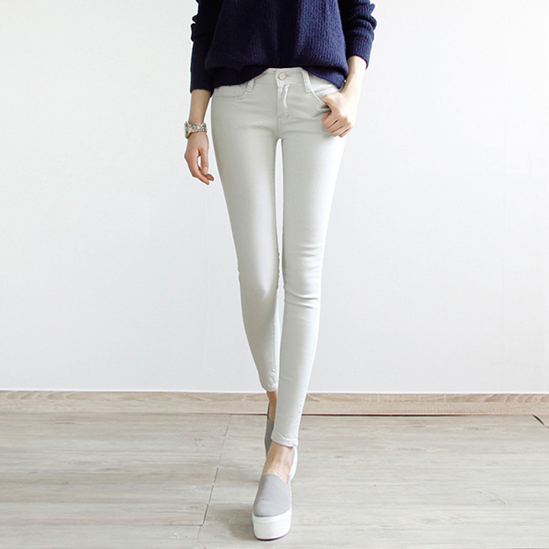 High waist jeans female pantyhose spring and summer wild colored thin tight pencil pants stretch pants feet 9 points