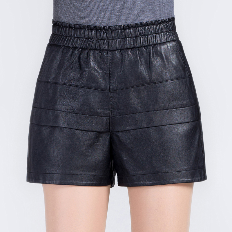 High waist shorts female autumn and winter elastic waist a word shorts shorts slim was thin pu leather shorts leather pants big yards wide leg shorts