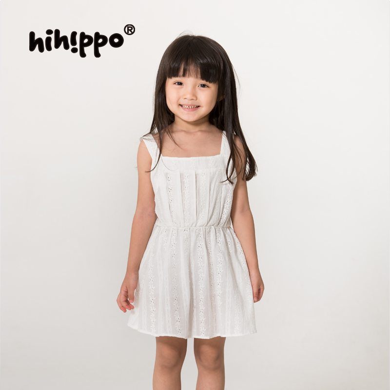 e21c002e0 Get Quotations · Hihippo harness dress summer influx of baby girls summer  dress child princess dress white cotton embroidered