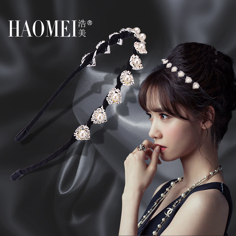Hiromi thin headband hair accessories korean version of sweet pearl cocking headdress jewelry simple diamond hairpin hair hoop head buckle