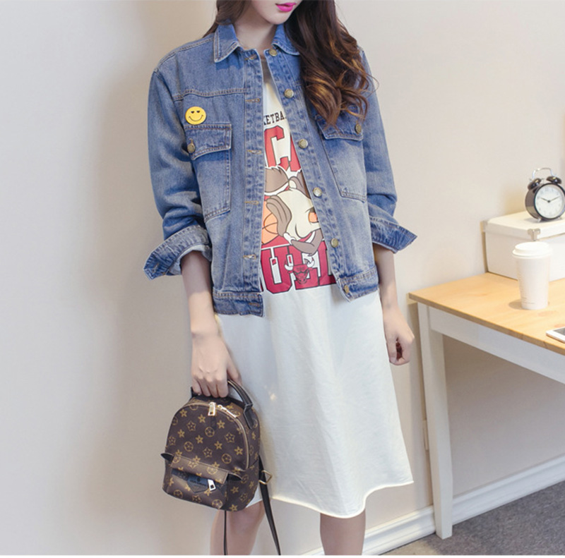 Hitz korean version of the influx of pregnant women pregnant women dress large size denim jacket pregnant women pregnant autumn long sleeve clothes on pregnant women
