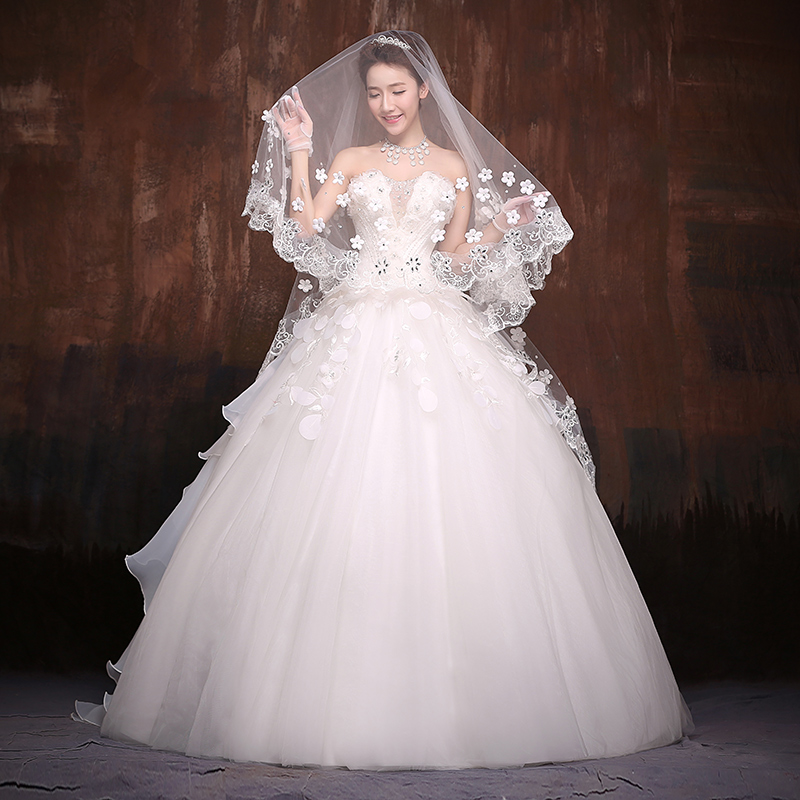 Ho man ting wedding dress 2016 new korean version of the hollow deep v bride wedding bra qi wedding flowers white