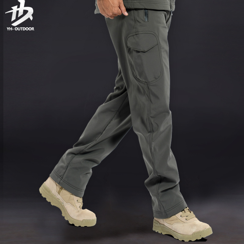 Hok yat outdoor autumn and winter thick fleece warm waterproof windproof soft shell pants trousers men climbing pants large size color