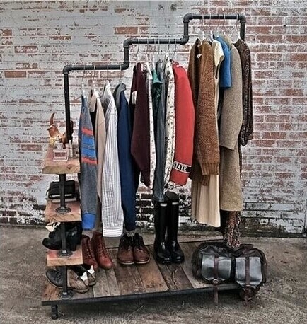 Home happy american retro wood floor coat rack to hang clothing store shelf display rack wrought iron to do the old pipes