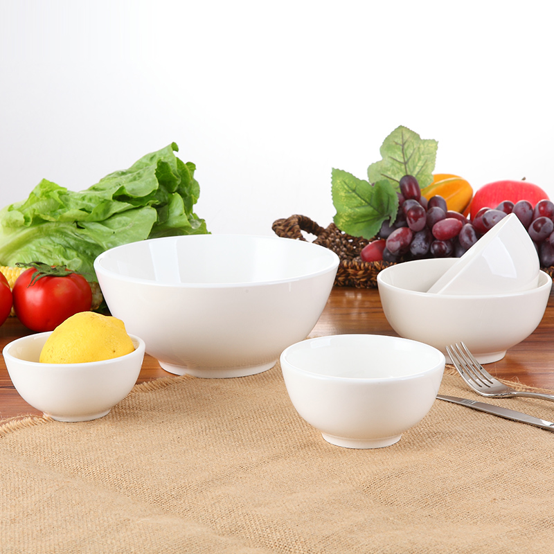 Home hotel restaurant tableware bowl rice bowl of pure white bone china soup bowl of ramen bowl ceramic bowl straight mouth