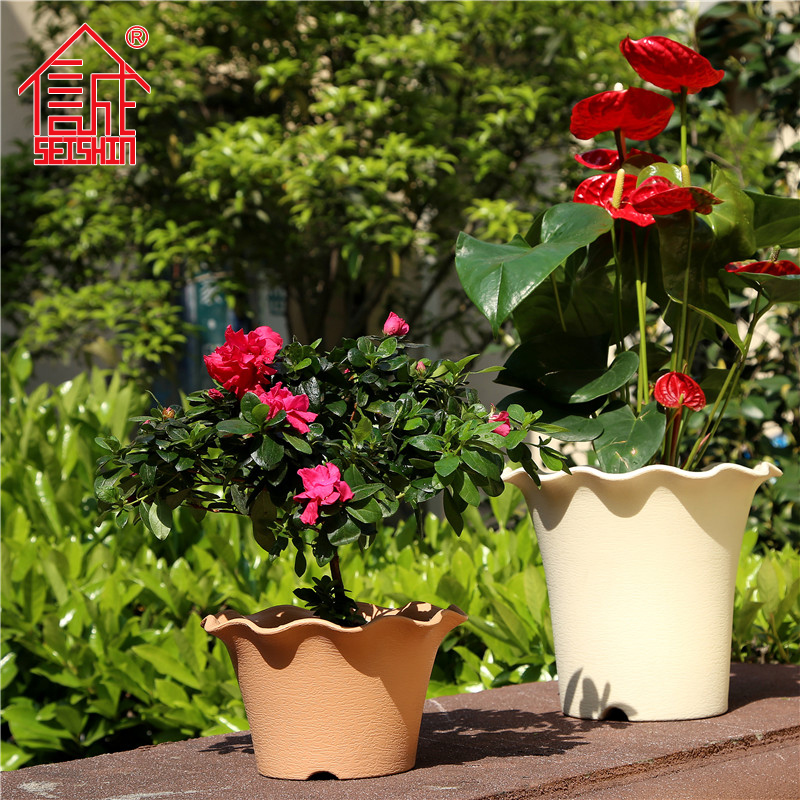 Honesty resin plastic pots plants pots simple clay style high round pots pots pots outdoor balcony