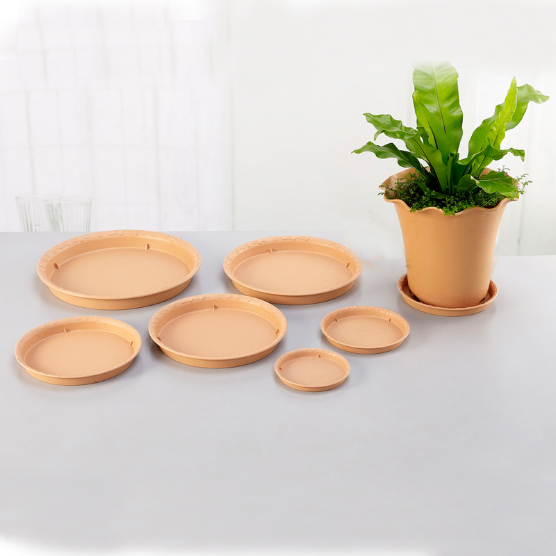 Honesty resin plastic pots pots circular tray water tray tray bottom bracket more than the size of the election light brown beige