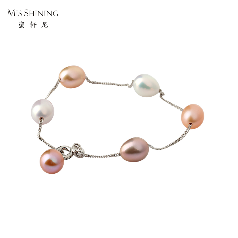 Honey hennessey 925 silver rhodium mixed color rice shape freshwater pearl bracelet to send his girlfriend girlfriends girls