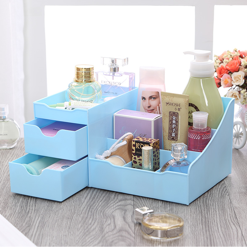 Honey honey flower korean cosmetics drawer storage box creative desktop storage box plastic storage box storage bags post
