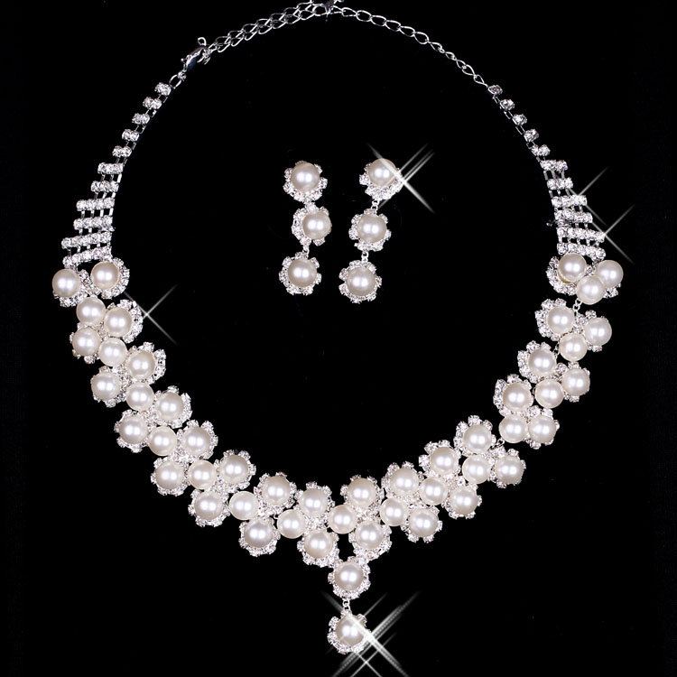 Honey lin clothing bridal wedding jewelry bridal sets of chain necklace set bridal jewelry rhinestone necklace earrings