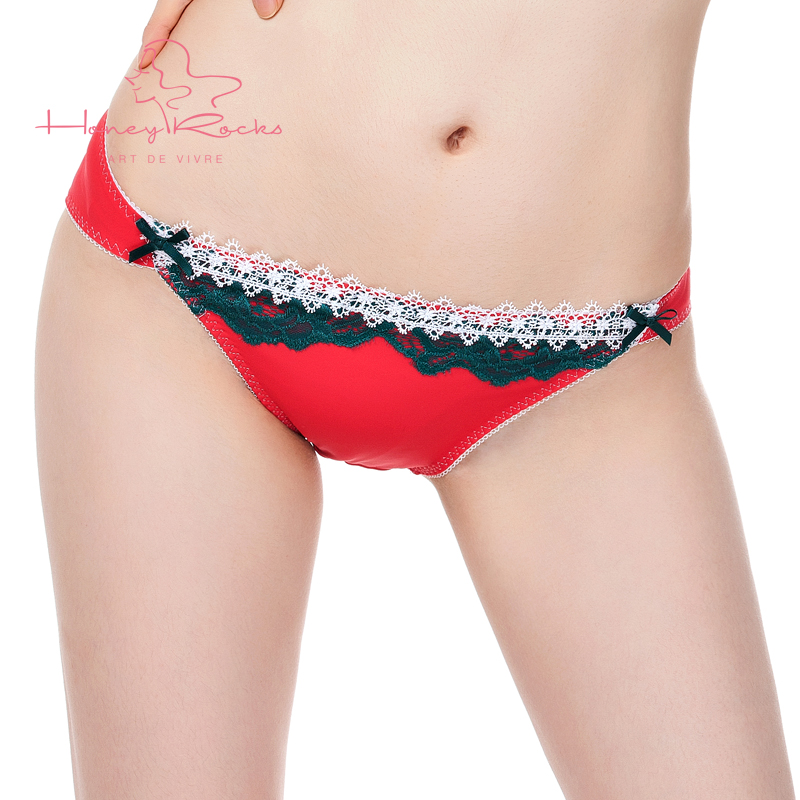 Honey rocks/honey rock red snowflake embroidery soft breathable low waist hip briefs