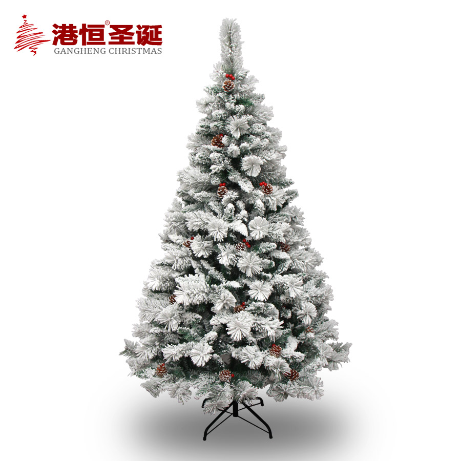 Hong kong hang 1.5 m sticky snow christmas tree flocking 2.1 m encryption christmas tree red berries hanging branches
