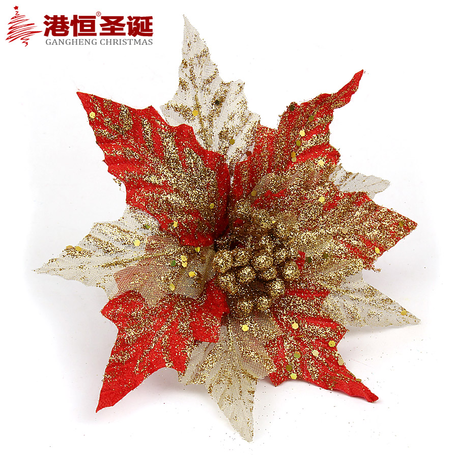 Hong kong hang 20cm red and gold three layers of gauze sequined glitter decoration christmas flower christmas decorations 16g