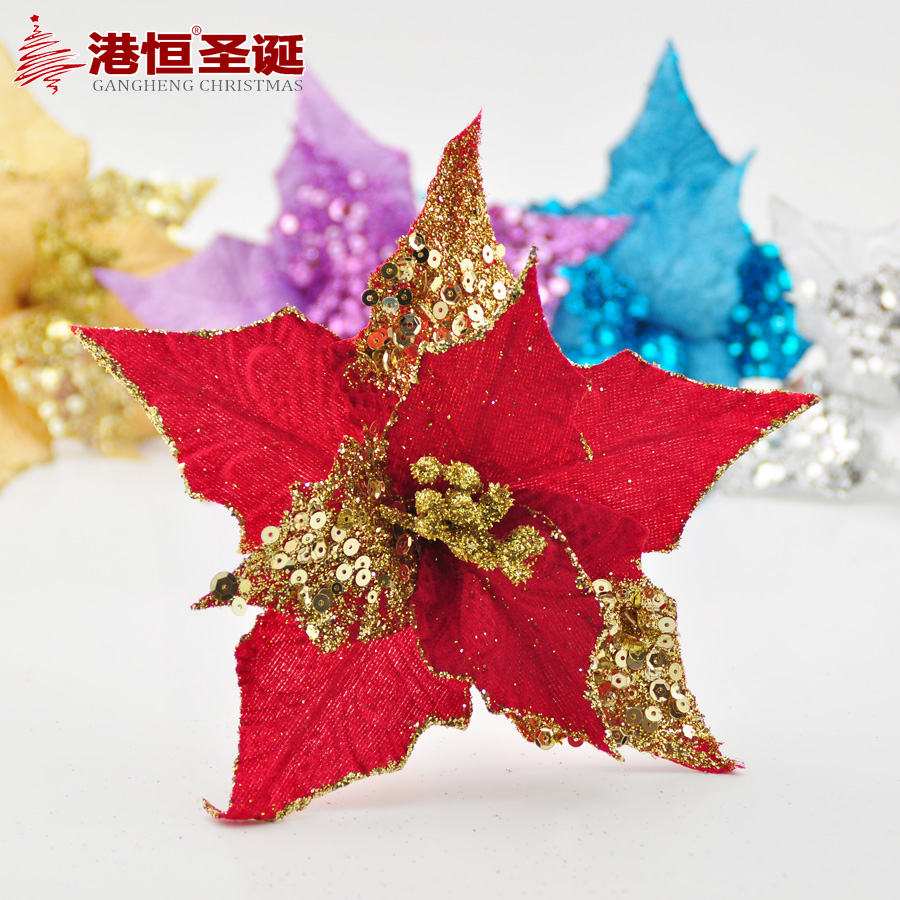 Hong kong hang christmas decorations 20cm sequins cottonwoods christmas flower christmas flower christmas tree decorations 13g