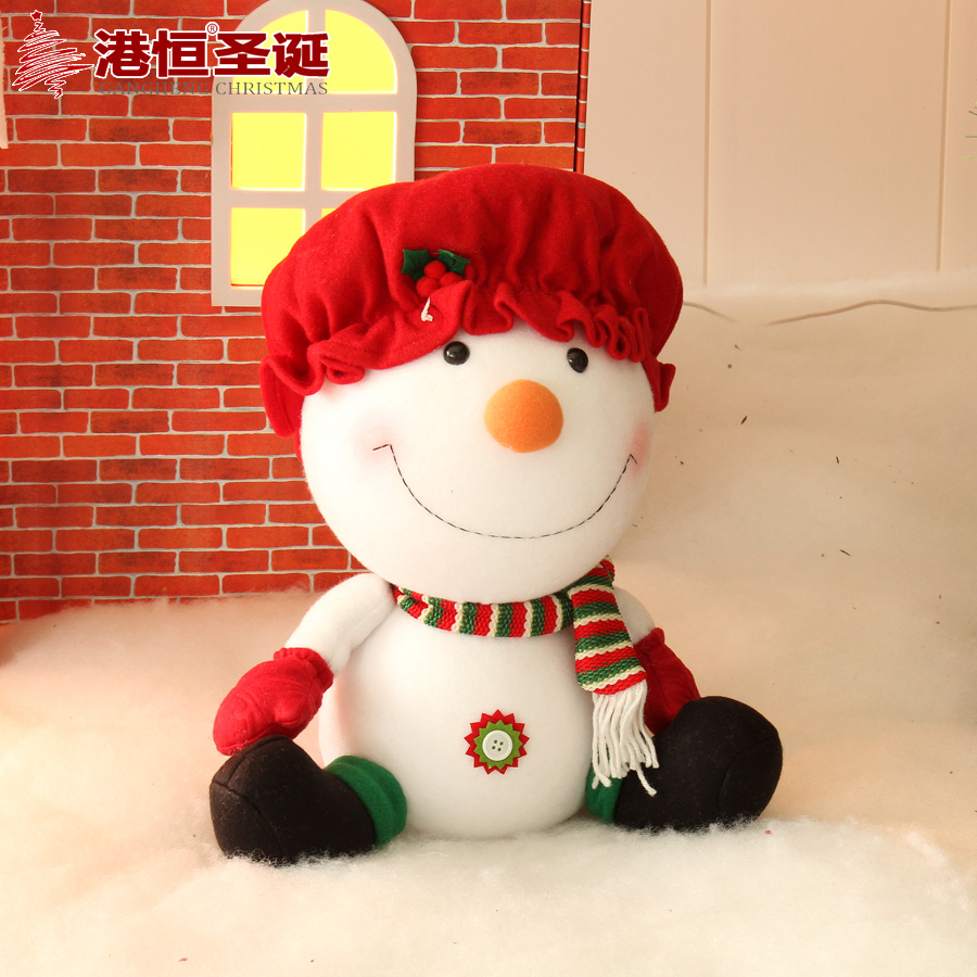 Hong kong hang christmas decorations 45cm christmas snowman sitting plush tops christmas window decoration supplies