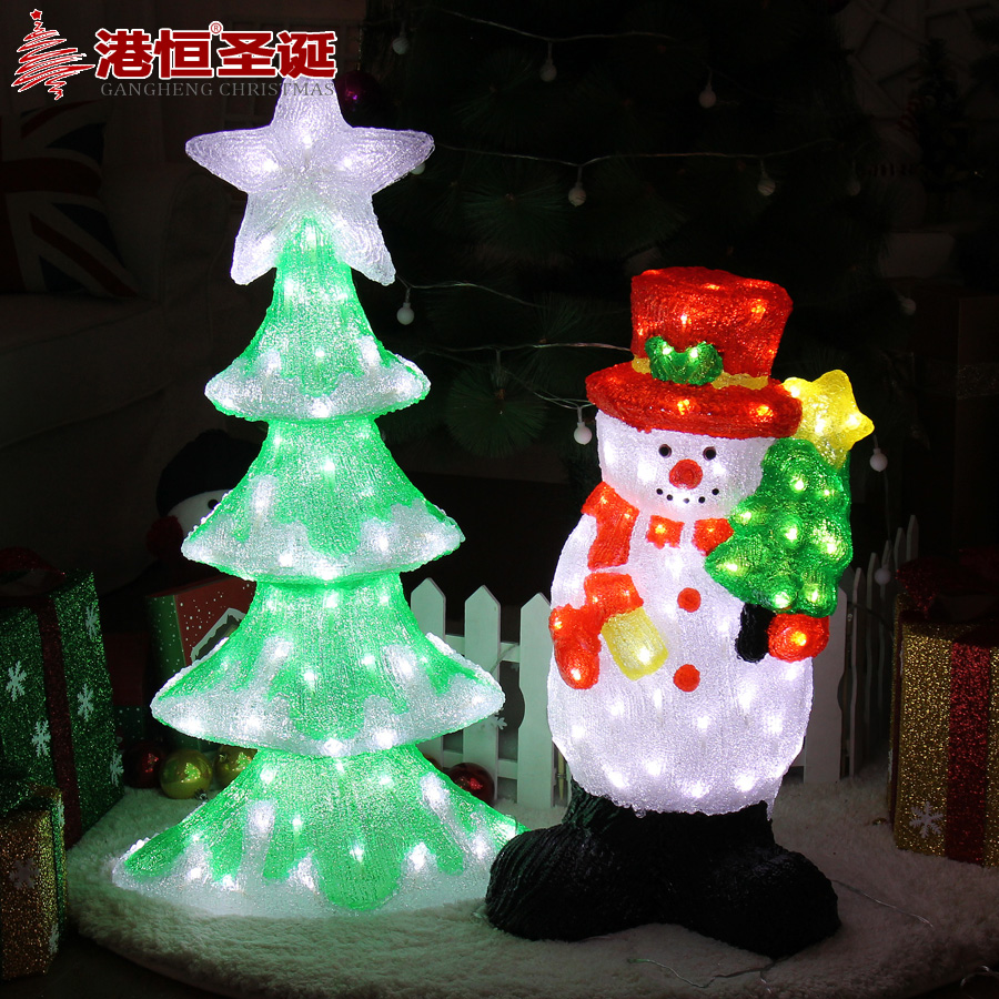 Hong kong hang christmas decorations 82cm acrylic led lantern tree snowman paragraph venue decoration furnishings decoration