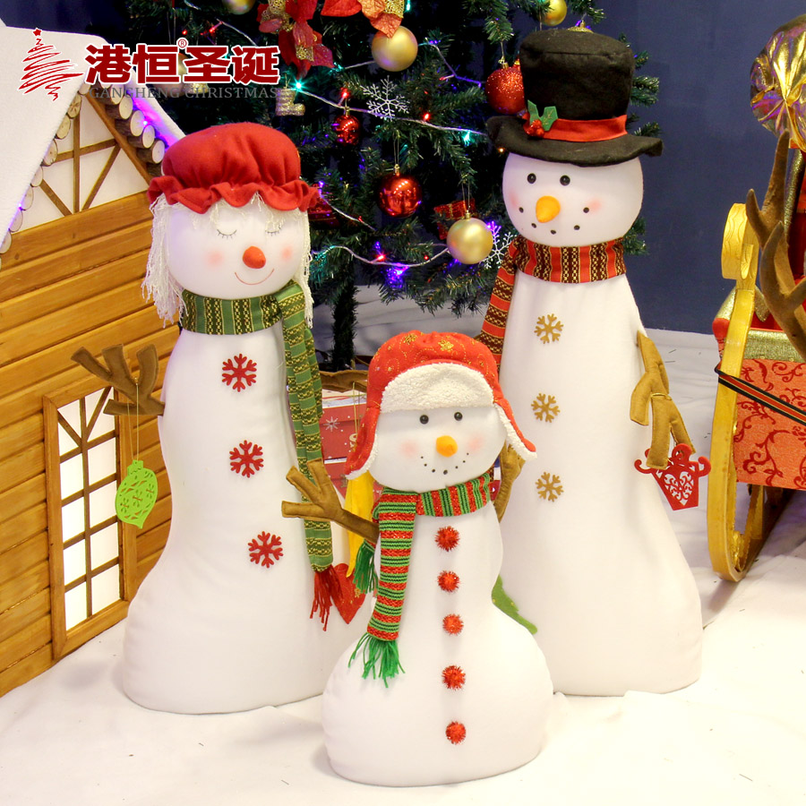 Hong kong hang christmas decorations christmas snowman family of three sets of plush fabric hotel suppliers field furnishings elderly 5.5 kg