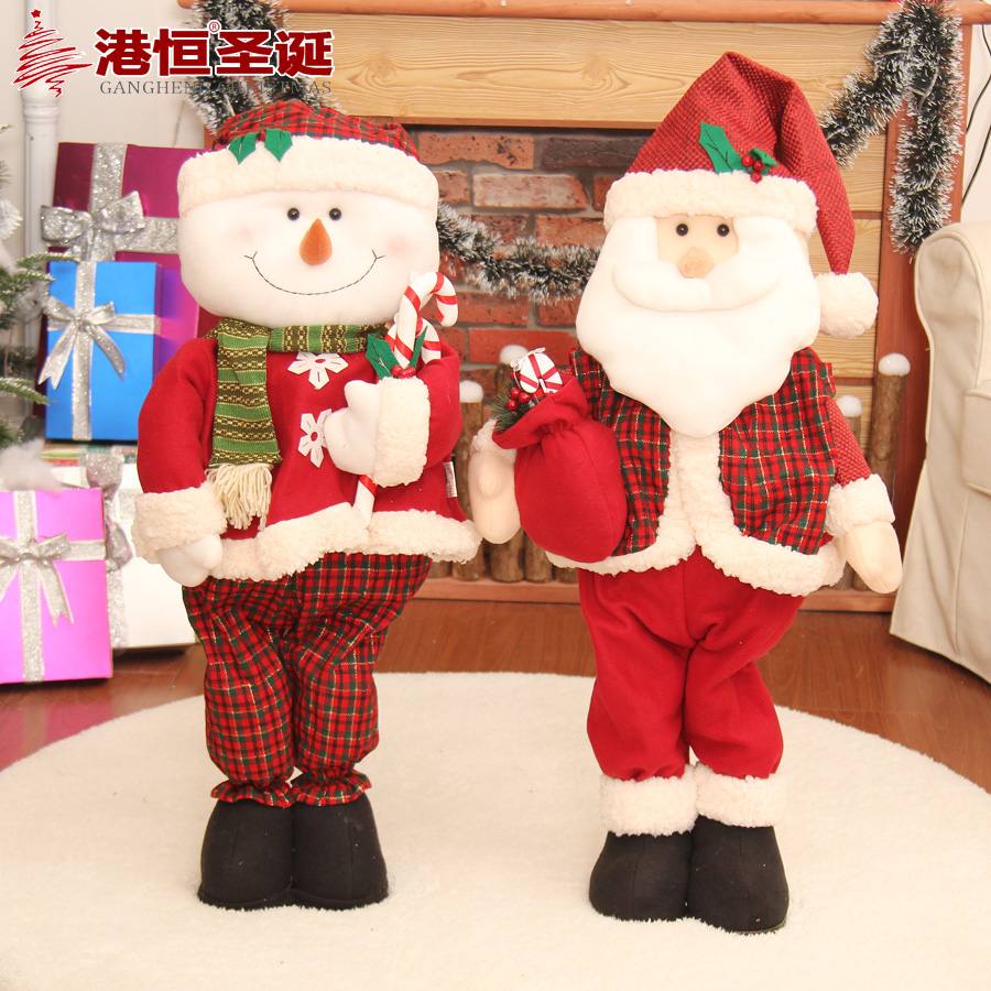 Hong kong hang christmas fabric christmas plush christmas snowman santa elk decorative tops decorated christmas ornaments furnishings