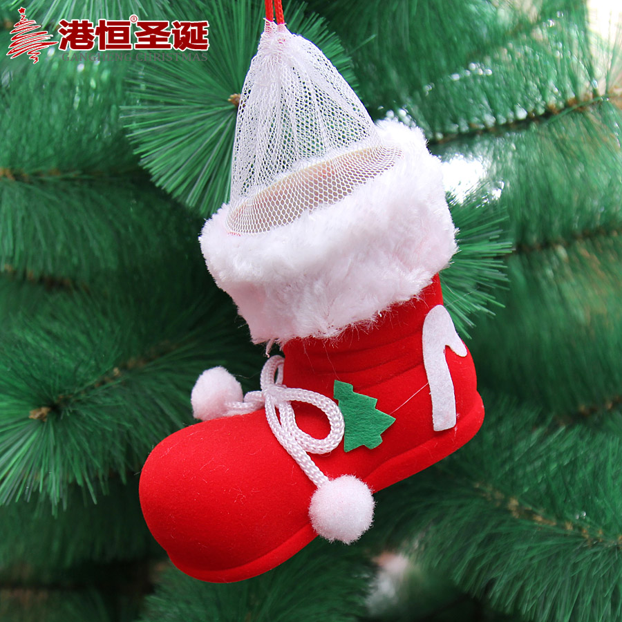 Hong kong hang red flocked christmas ornaments christmas tree decorations christmas tree shoes boots candy box 50g