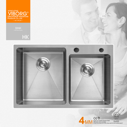 Hong kong yubao 4mm kitchen sink thick 304 stainless steel wash basin vegetables basin kitchen sink dual slot suits