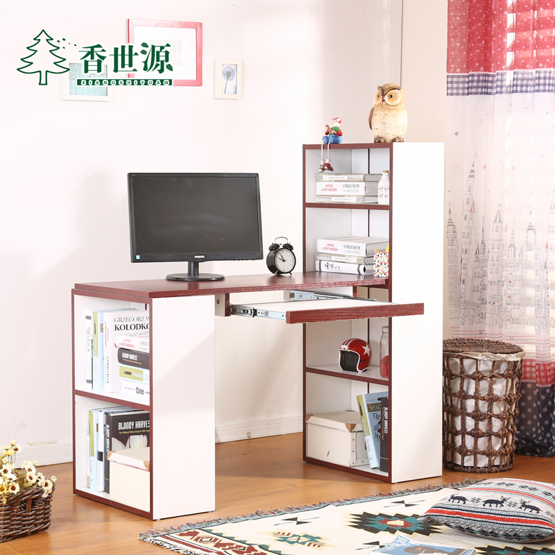 Hong shiyuan simple plate minimalist modern home desktop computer desk computer desk study desk with bookcase combination bookcase specials