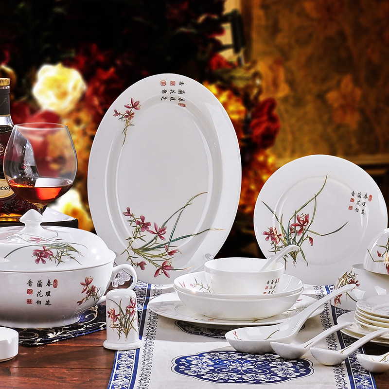 Hongxin 56 jingdezhen bone china tableware suit crockery dish of chinese classical tableware porcelain tableware ceramic dishes