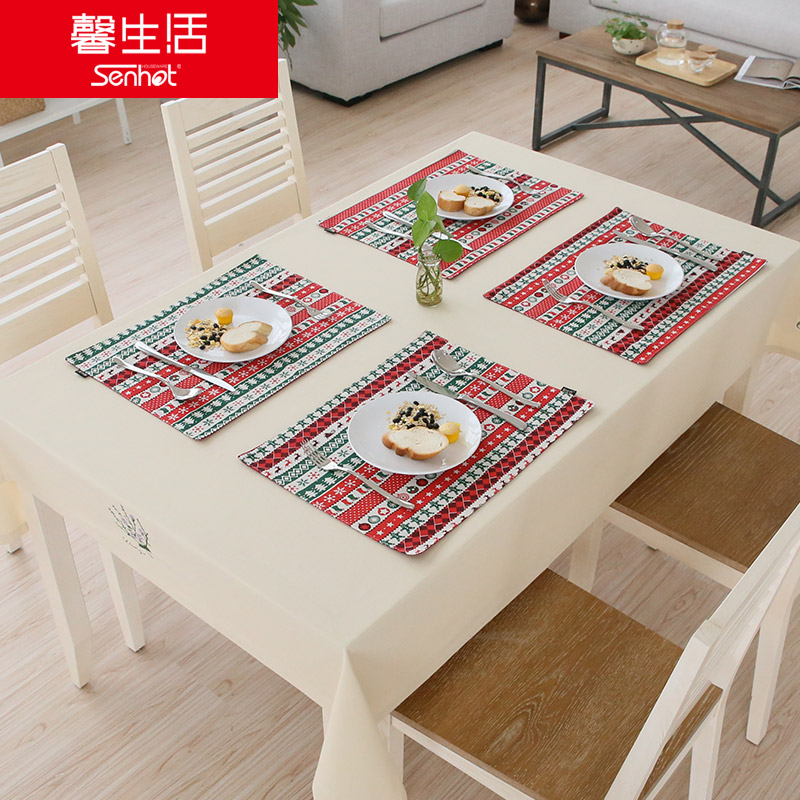 Hope life comfortable life linen placemats bowls mat western table placemats christmas red cherry pink color rain
