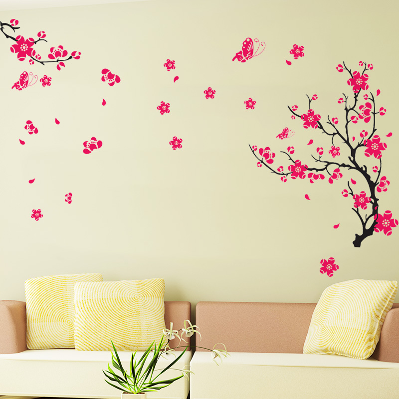 Hot fashion flower painting romantic bedroom living room tv wall decoration stickers tuba creative removable wall stickers
