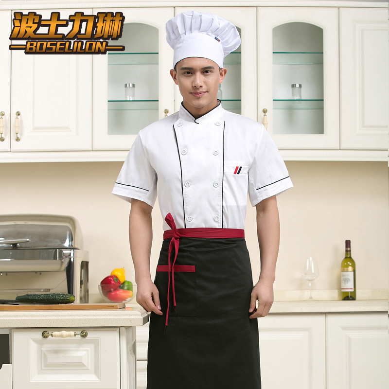 Hotel chef service dining restaurant kitchen chef sleeved overalls work clothes for men and women summer hotel chef uniforms