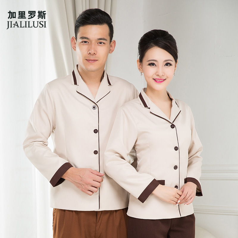 Hotel overalls cleaning service cleaning service cleaning sleeved cotton flax clothing paul mu clothing repair service tooling