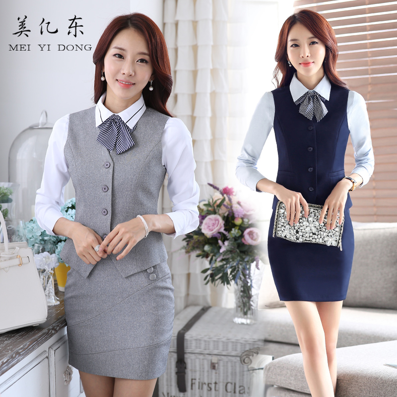 Hotel overalls fall and winter clothes waiter vest vest skirt suit female front desk cashier foreman manager beautician wear