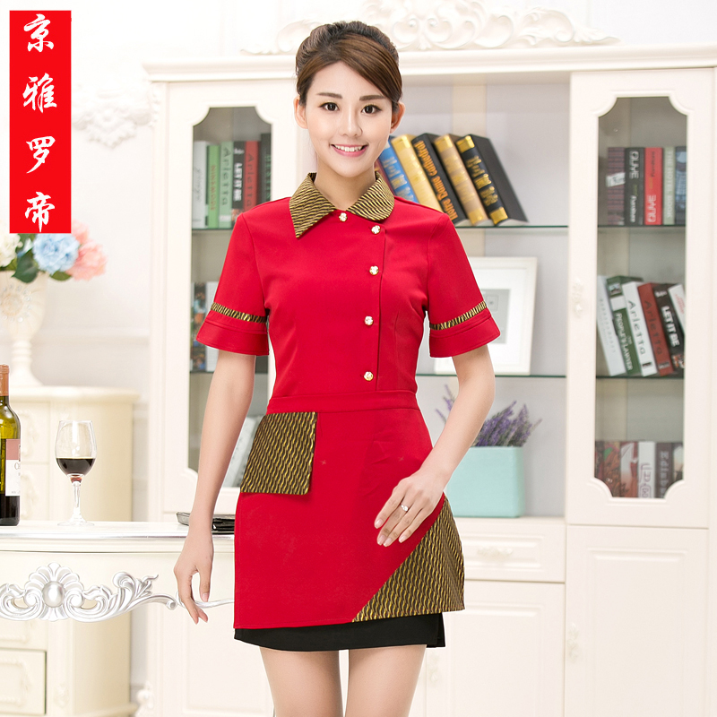 Hotel overalls summer clothes hot pot restaurant waiter sleeved overalls hotel restaurant hotel waiter overalls summer female