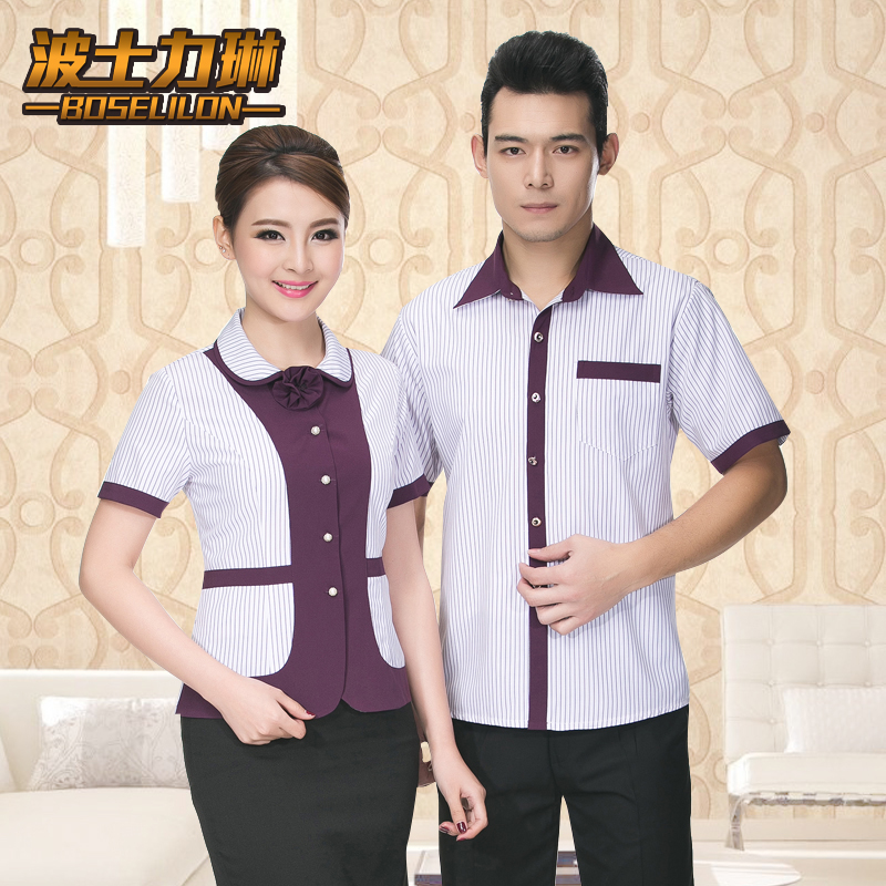 Hotel overalls summer dining restaurant waiter sleeved overalls hotel hot pot shop work clothes short sleeve