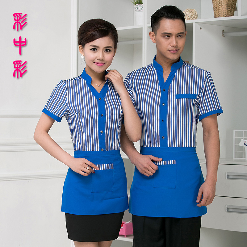 Hotel overalls summer fast food restaurant waiter overalls summer hotel restaurant serving fast food restaurant clothing shirt