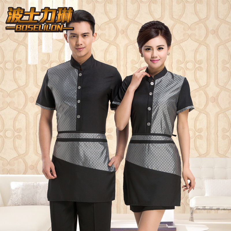 Hotel overalls summer hotel uniforms hotel restaurant waiter overalls overalls work clothes short sleeve men and women