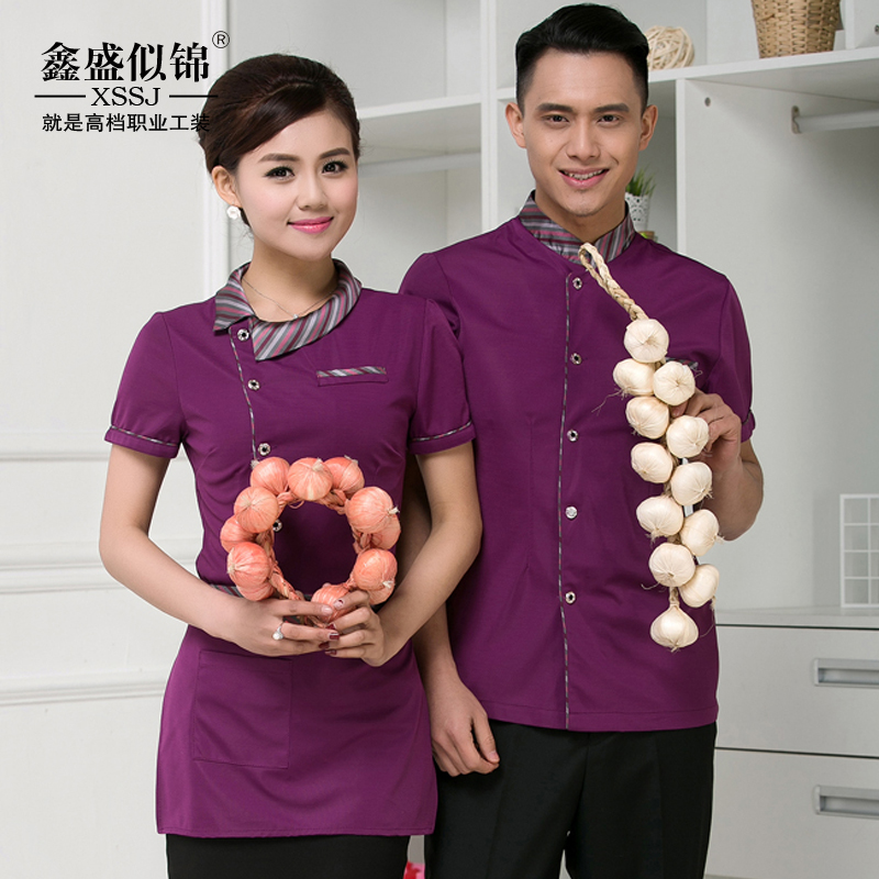 Hotel uniforms summer clothes hot pot restaurant cafe hotel restaurant waiter waiter uniforms short sleeve men and women