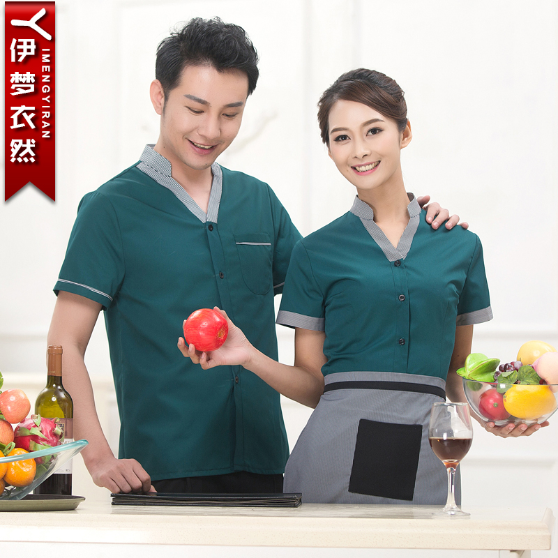 Hotel uniforms summer female restaurant waiter overalls summer fast food restaurant uniforms restaurant uniforms sleeved