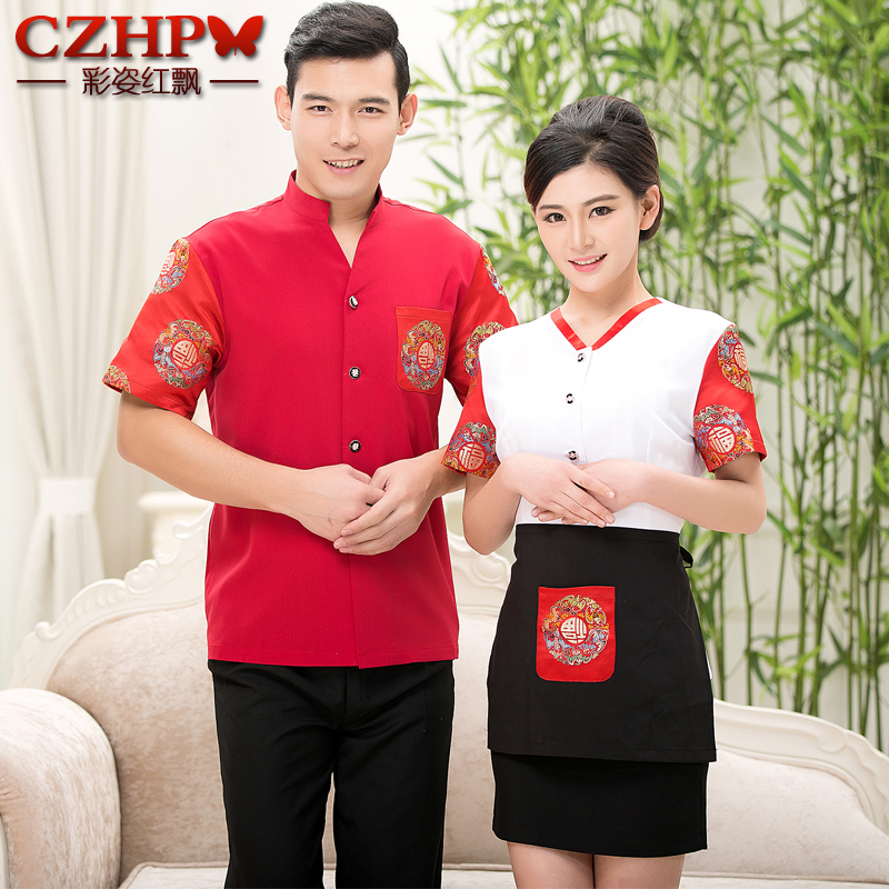 Hotel uniforms summer female short sleeve hot pot restaurants catering hotel restaurant serving chinese and western farmhouse restaurant waiter uniforms