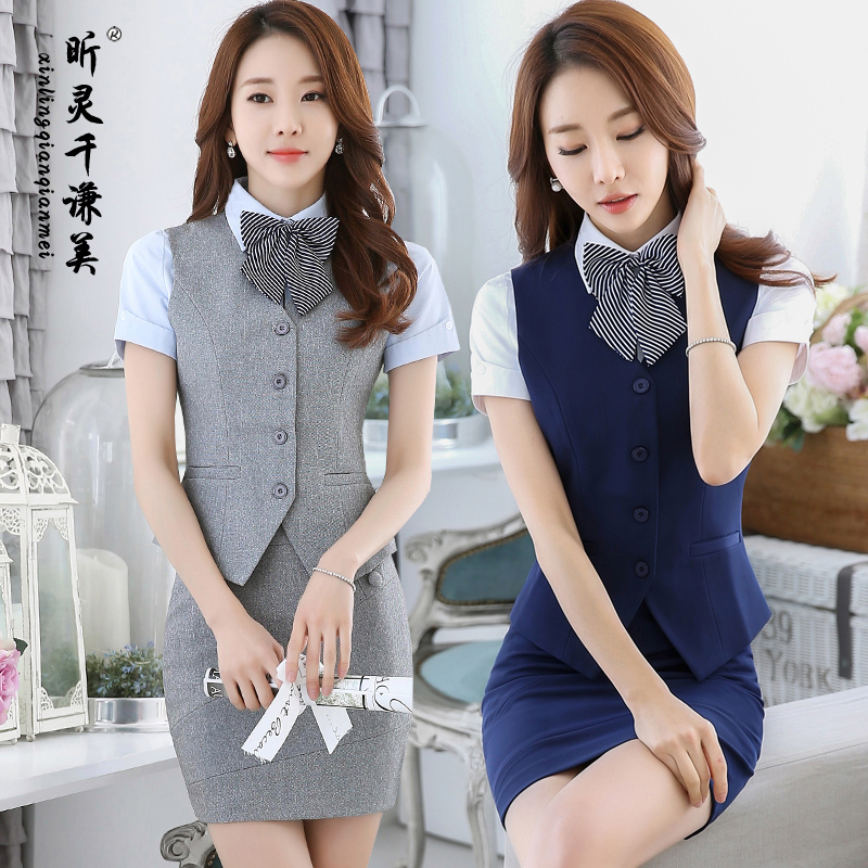 Hotel uniforms summer female stewardess uniforms beauty salon reception cafe catering uniforms wear short sleeve vest