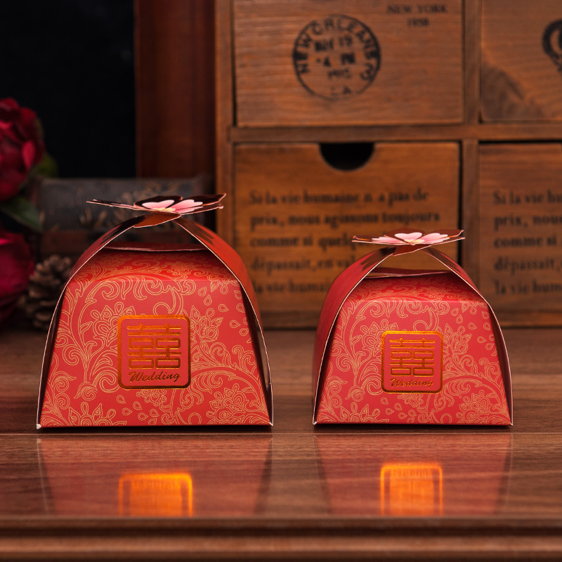 House red makeup 2016 lotus new chinese creative wedding candy box hi word wedding celebration candy carton