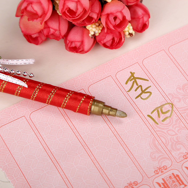 House red makeup euclidian golden wedding sign pen creative wedding essential flower ball wedding supplies wedding guests signature pen