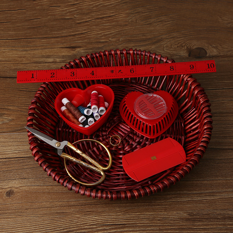 House red makeup wedding supplies wedding traditions creative sewing kit scissors ruler thimble grate red and white lines