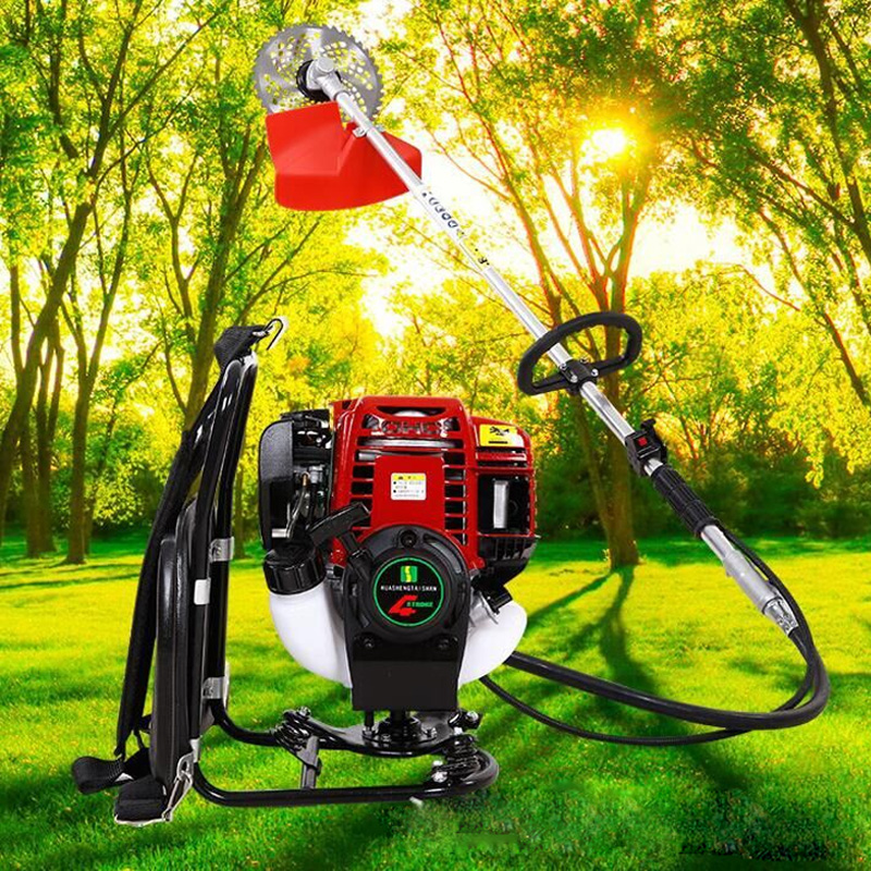 How beautiful dish knapsack brush cutter mower lawn mower four stroke side hanging rice harvester lawn mower Machine